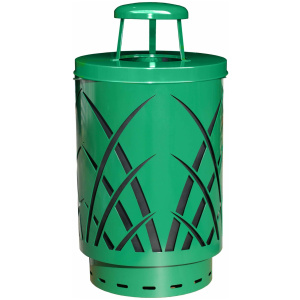 Witt 40 Gallon Covington Collection Steel Green Trash Receptacle Rain Cap
