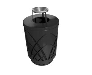 Witt 40 Gallon Covington Collection Black Silver Trash Receptacle Ash Top