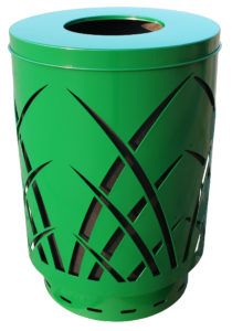 Witt 40 Gallon Covington Collection Steel Green Trash Receptacle Flat Top