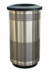 35 Gallon Stadium Series Standard Receptacle with Plastic Liner in Stainless Steel with Flat Top