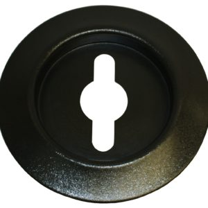 Plastic Recycle Flat Top Lid with Combination Slot/Hole Opening in Black
