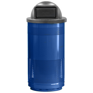 35 Gallon Stadium Series Standard Receptacle with Plastic Liner in Blue Streak with Dome Top