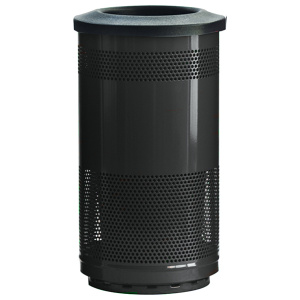 35 Gallon Stadium Series Standard Receptacle with Plastic Liner in Bumper Black with Flat Top