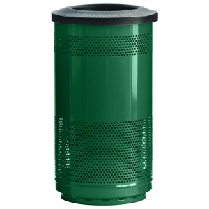 35 Gallon Stadium Series Standard Receptacle with Plastic Liner in Evergreen with Flat Top