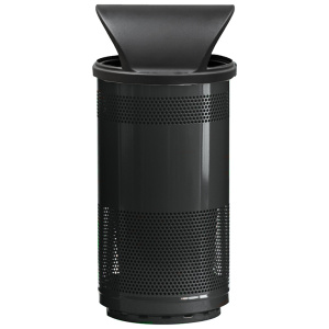 35 Gallon Stadium Series Standard Receptacle with Plastic Liner in Bumper Black with Hood Top