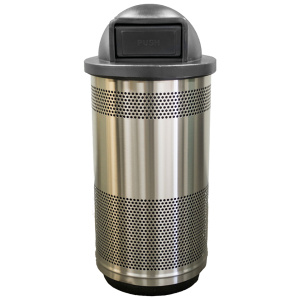 35 Gallon Stadium Series Standard Receptacle with Plastic Liner in Stainless Steel with Dome Top