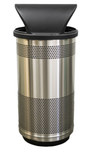 35 Gallon Stadium Series Standard Receptacle with Plastic Liner in Stainless Steel with Hood Top