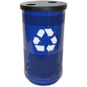 35 Gallon Stadium Series Blue Streak Recycling Unit with Two Opening Flat Top
