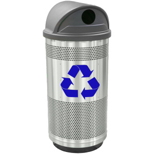 35 Gallon Stadium Series Stainless Steel Recycling Unit with Hood Top