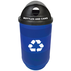55 Gallon Stadium Series Blue Recycling Unit with Hood Top