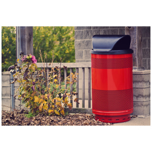 Witt 55 Gallon Standard Series Red Receptacle with Hood Top Outdoor Environmental