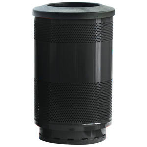 55 Gallon Stadium Series Standard Receptacle with Plastic Liner in Bumper Black with Flat Top