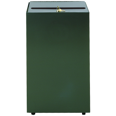 Witt Security Industrial Trash Can with Lock and Keys in Green