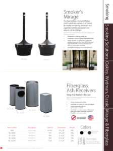 Witt Smoker's Mirage and Fiberglass Ash Receivers Catalog Page Transparent