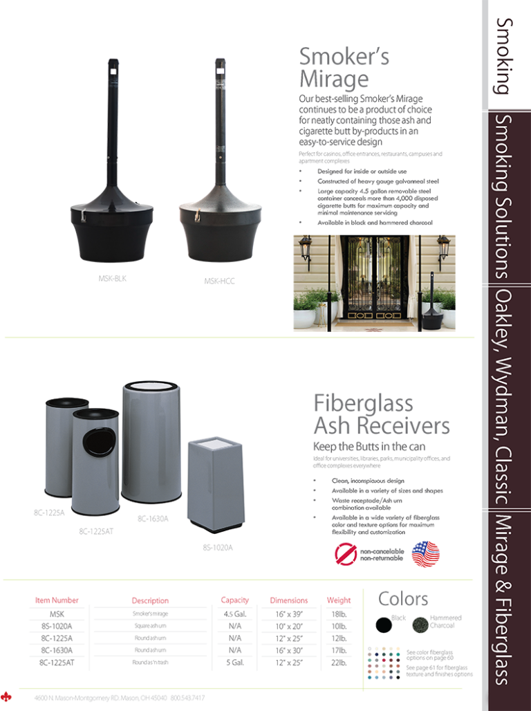 Witt Smoker's Mirage and Fiberglass Ash Receivers Catalog Page Transparent