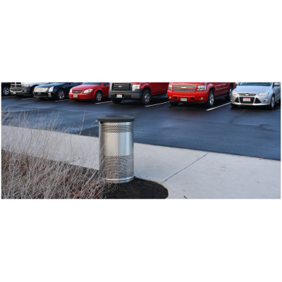 Stadium Series Standard Receptacle with Plastic Liner in Stainless Steel with Flat Top