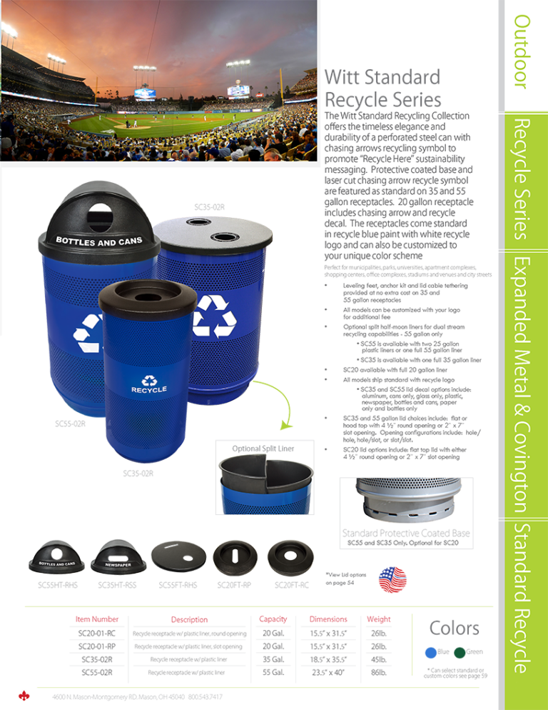 Witt Outdoor Standard Recycle Series Catalog Page Transparent