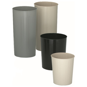 Waste Baskets in Almond, Silver and Black