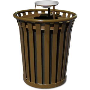 Witt Wydman Collection 36 Gallon Receptacle in Brown with Ash Top
