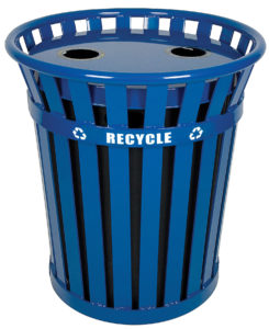 Witt Wydman Recycling 36 Gallon Receptacle with Plastic Liner in Blue Two Round Openings
