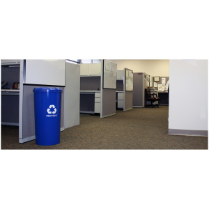 Tall Round Recycling Unit With Round Opening in Blue