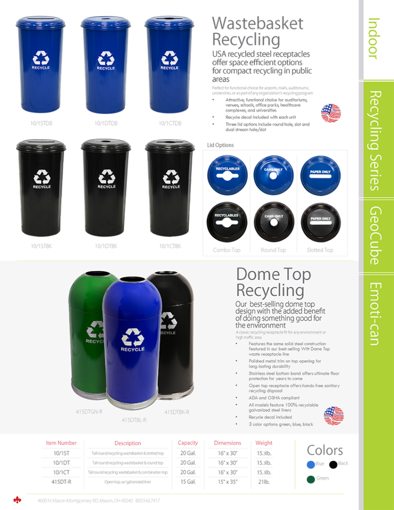 Witt Wastebasket and Dome Top Recycling Catalog Page Transparent