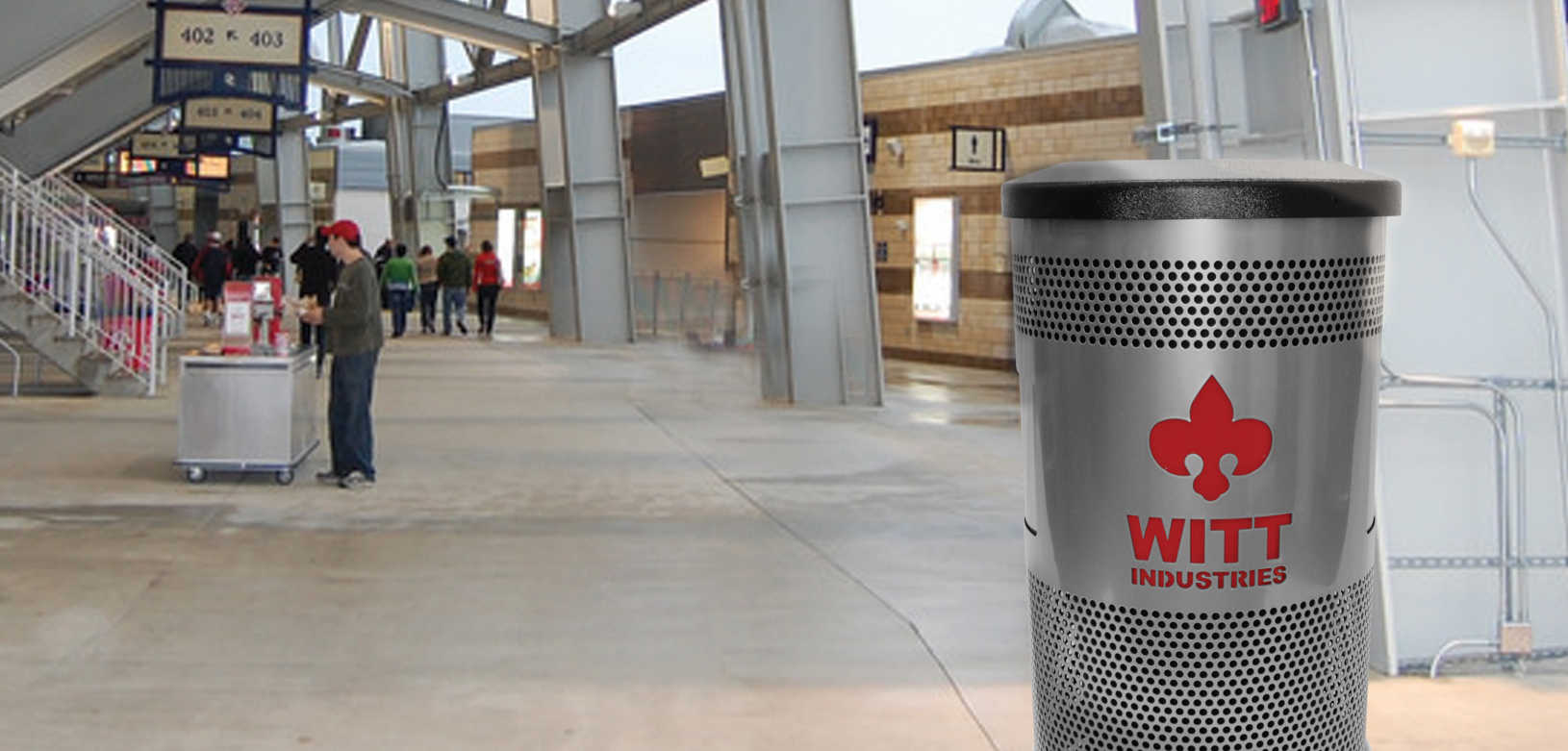 Witt Stainless Steel Custom Logo Collection Receptacle Outdoor Environmental
