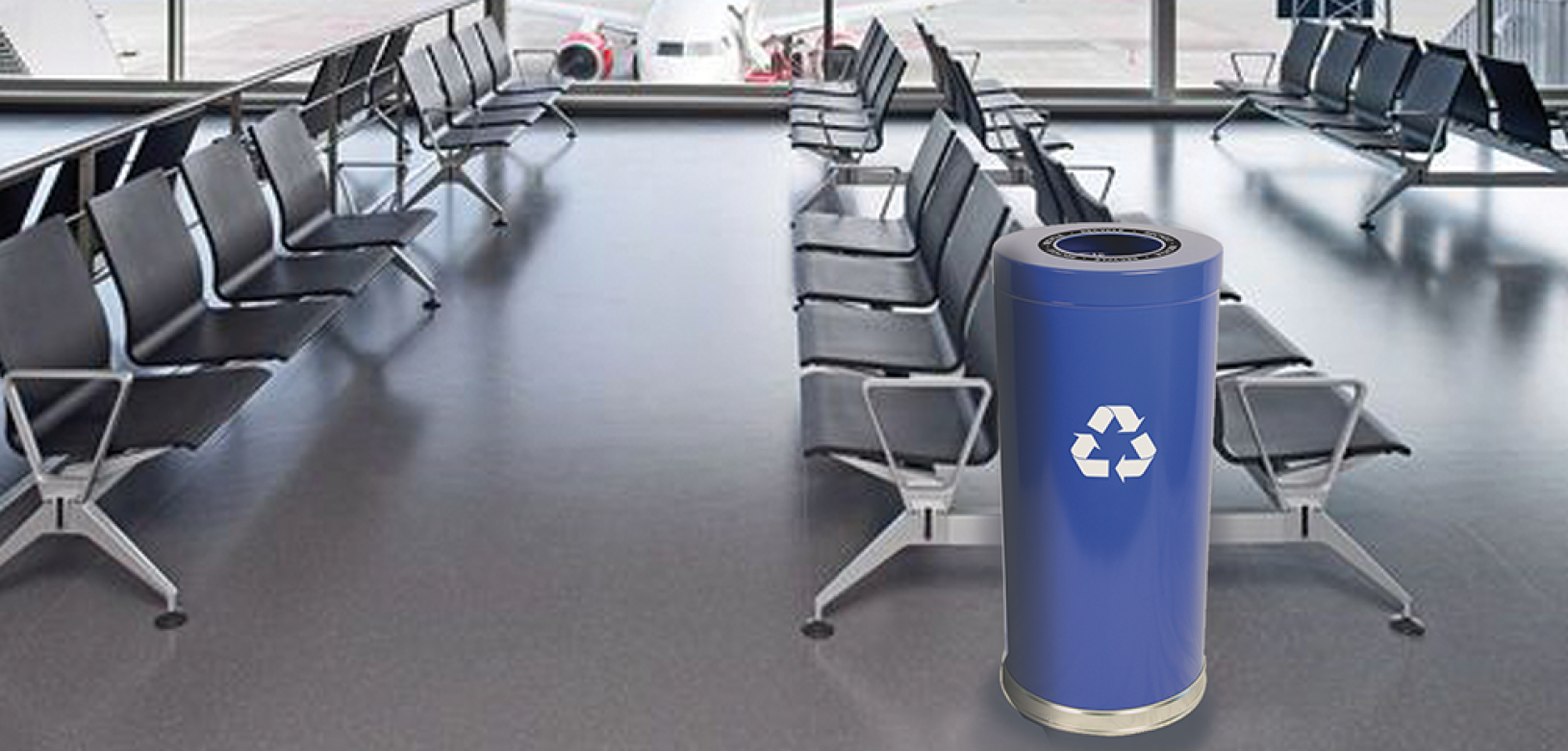 Witt Blue Emoti-Can Recycling Receptacles with Decal Indoor Environmental