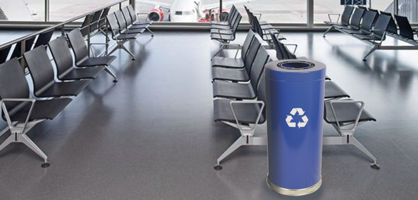 Blue Emoti-Can Recycling Receptacle with Decal Indoor Environmental