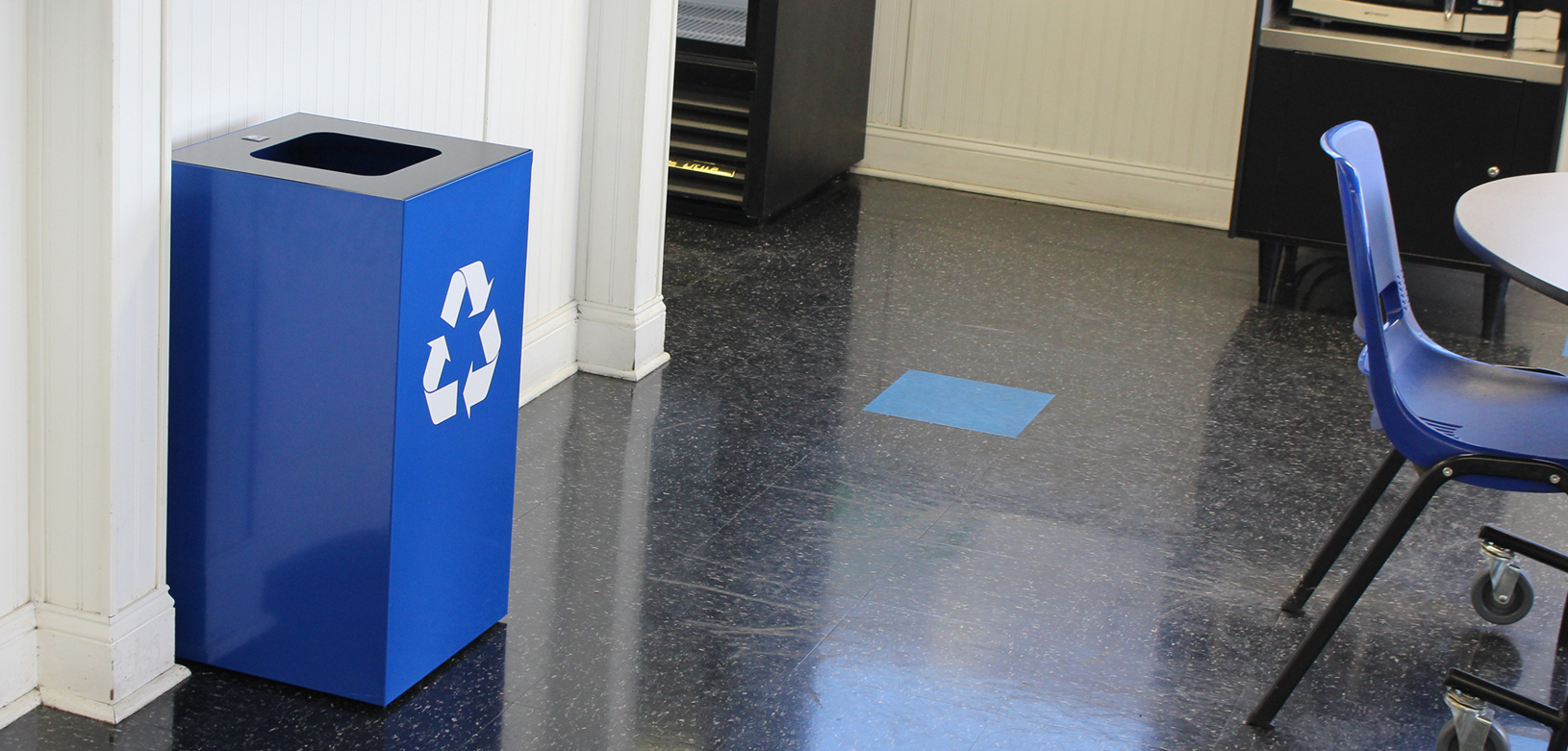 Blue Geocube Recycling Receptacle with Decal Indoor Environmental