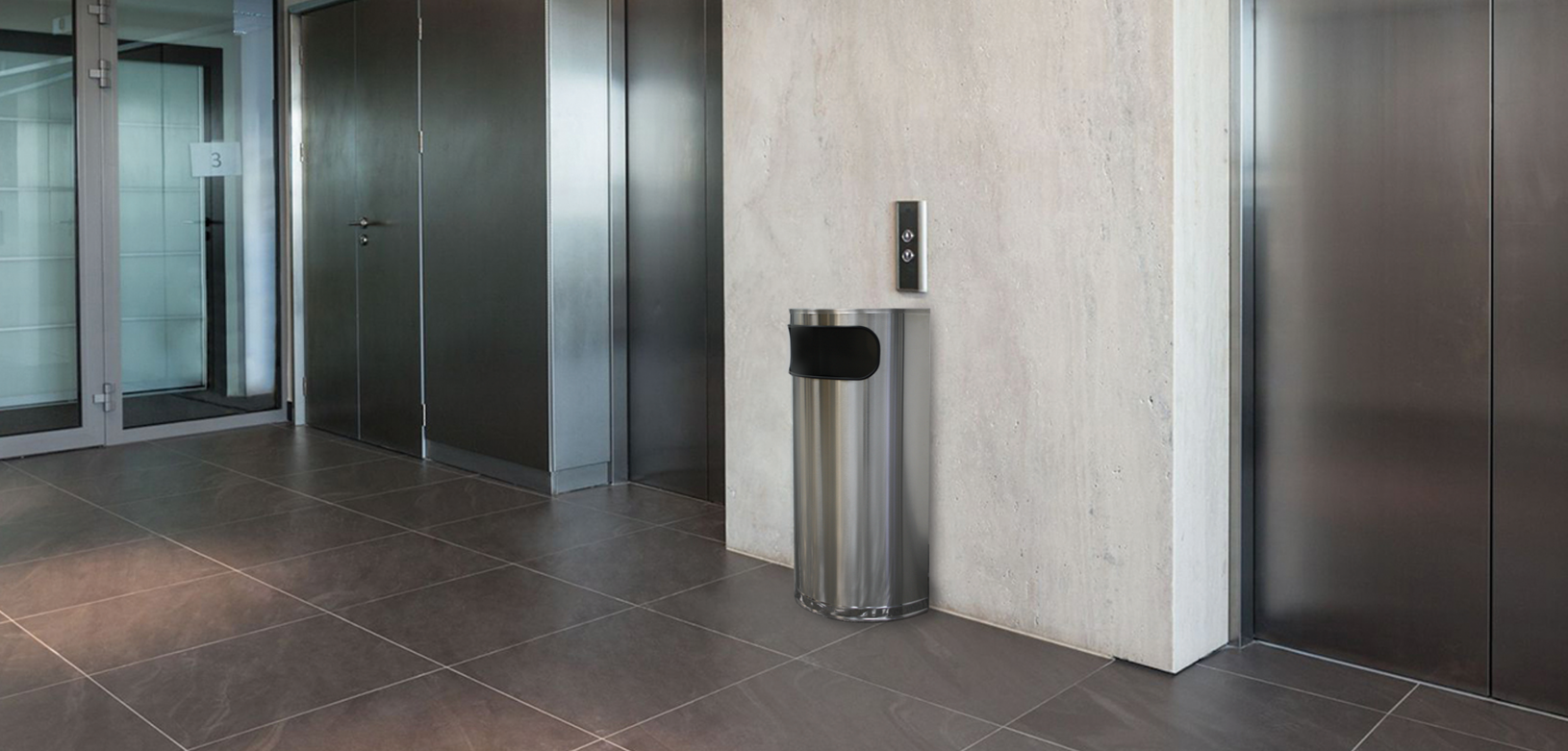 Witt Stainless Steel Half Round Celestial Commercial Garbage Can Indoor Environmental