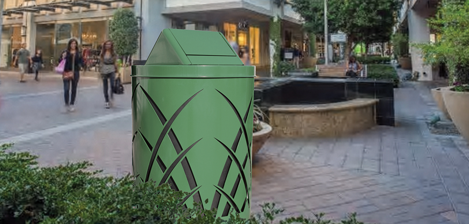 Witt Green Sawgrass Collection Commercial Trash Can Outdoor Environmental