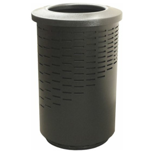 Witt 55 Gallon The Wave Series Receptacle in Black with Round Open Top
