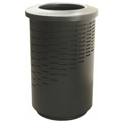Witt 55 Gallon The Wave Series Galvanize Trash Cans in Black with Round Open Top